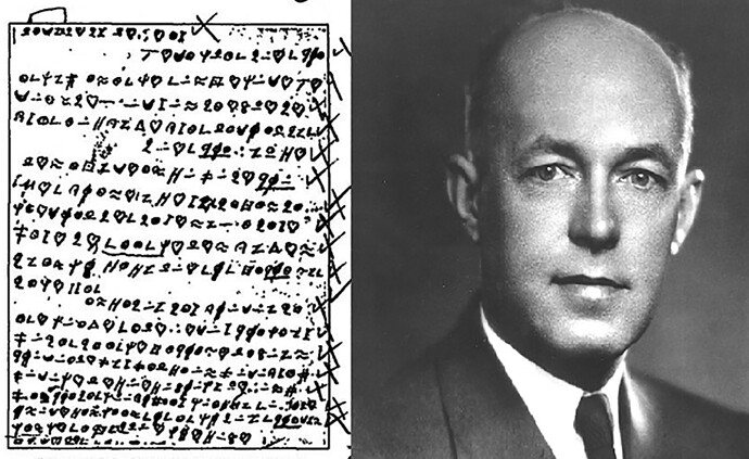 A cryptogram published by the code breaker Herbert Yardley in the Saturday Evening Post in 1931.